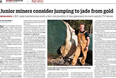 "2015-10-13 - Business in Vancouver – ""Junior Miners Consider Jumping to Jade from Gold"""