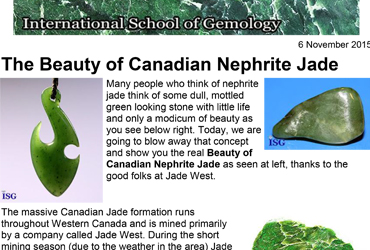 "2015-11-06 - International School of Gemology – ""The Beauty of Canadian Nephrite Jade"""